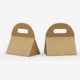 Boîte de triangle de papier d'emballage avec la poignée, chemin de coupure inclus Images stock