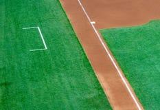 Boîte de troisième base et d'entraîneur d'un diamant de base-ball photo libre de droits