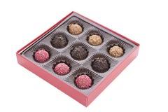 Boîte de truffe de chocolat avec la praline Image libre de droits