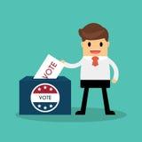 Boîte de vote de jour d'élection présidentielle Drapeaux américains Ele symbolique Photo stock