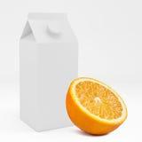 boîte du carton 3D avec le fruit orange rendu 3d Photos libres de droits