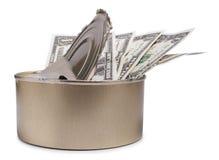 Boîte du dollar et en métal Image stock