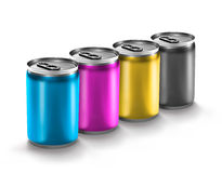 Boîte en aluminium colorée Photographie stock