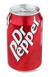 Boîte en aluminium de rouge de Dr. Pepper images stock