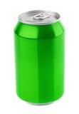 Boîte en aluminium verte sur le blanc Photographie stock