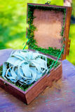 Boîte en bois avec des anneaux sur un conseil photos libres de droits