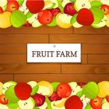 Boîte en bois avec des fruits de pomme Illustration de carte de vecteur Images stock