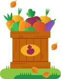 Boîte en bois avec des légumes d'automne Illustration de vecteur dans s plat Image libre de droits