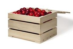 Boîte en bois avec la cerise Images libres de droits