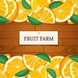 Boîte en bois avec les fruits oranges tropicaux Illustration de carte de vecteur Embarque le fond en bois, frontière avec des ora Image stock