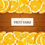 Boîte en bois avec les fruits oranges tropicaux Illustration de carte de vecteur Embarque le fond en bois, la frontière avec des  Photo libre de droits