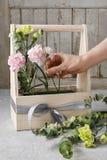 Boîte en bois avec les oeillets roses et jaunes - cours Photos stock