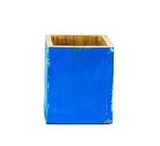 Boîte en bois bleue Photo stock