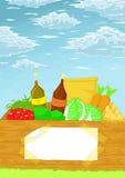 Boîte en bois dans le jardin illustration de vecteur