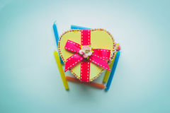 Boîte en bois de coeur Photo stock