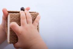 Boîte en bois de paille de brun clair Photo libre de droits