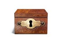 Boîte en bois de vintage avec le trou de la serrure en métal Images libres de droits