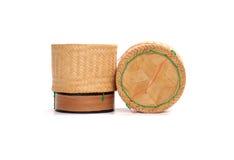 Boîte en bois en bambou à riz en Thaïlande Images stock