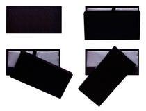 Boîte en bois réglée, paquet noir élégant d'isolement Photographie stock libre de droits