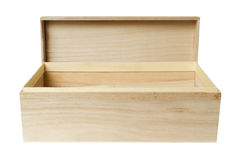 Boîte en bois sur le blanc Photographie stock