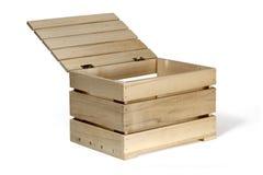 Boîte en bois sur un blanc Photographie stock