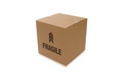 Boîte en carton au-dessus d'un fond blanc image libre de droits