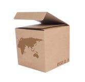 Boîte en carton avec la carte écologique Euro+Asia de graphisme photographie stock libre de droits