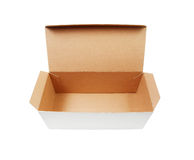 Boîte en carton avec le couvercle ouvert de secousse Image libre de droits