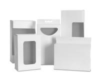 Boîte en carton avec une fenêtre en plastique transparente image stock