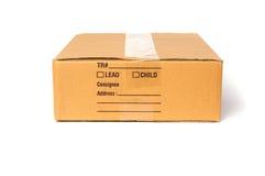 Boîte en carton d'isolement sur le fond blanc photographie stock
