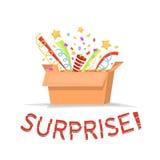 Boîte en carton de cadeau avec le texte de surprise Boîte-cadeau ouvert avec des confettis, étoiles Boîte magique d'isolement Ill illustration de vecteur