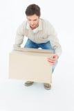 Boîte en carton de cueillette de livreur Photo libre de droits