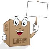 Boîte en carton de la livraison tenant le signe Photos stock
