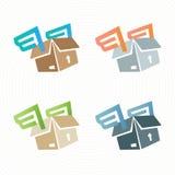 Boîte en carton de vecteur avec des ailes Logo de la livraison Photographie stock