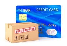 Boîte en carton et carte de crédit Images stock
