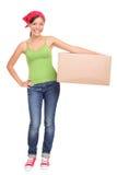Boîte en carton mobile de fixation de femme Image libre de droits