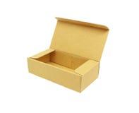 Boîte en carton ondulé d'isolement sur le blanc Images stock