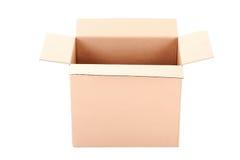 Boîte en carton ondulé de Brown d'isolement sur le blanc Image libre de droits