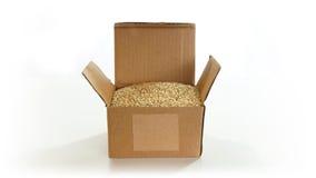 Boîte en carton ondulé ouverte avec le quinoa (Chenopodium quinoa) à l'intérieur sur le fond blanc Image stock