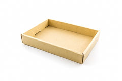 Boîte en carton ondulé vide Photographie stock