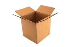 Boîte en carton ouverte vide d'isolement Images libres de droits