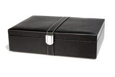 Boîte en cuir noire Photo libre de droits