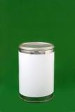 Boîte en fer blanc avec l'étiquette blanc Photographie stock libre de droits