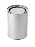 Boîte en fer blanc avec la peinture Photographie stock