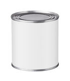 Boîte en fer blanc avec un label vide Photos stock