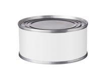 Boîte en fer blanc avec un label vide Photos libres de droits