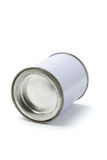 Boîte en fer blanc blanche scellée Photographie stock