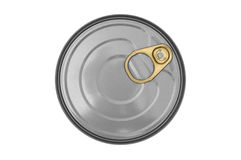 Boîte en fer blanc circulaire d'isolement sur le blanc Image stock