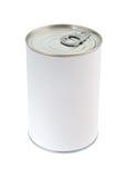 Boîte en fer blanc de nourriture blanc Photos libres de droits
