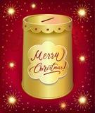 Boîte en fer blanc de tirelire de Noël Image libre de droits